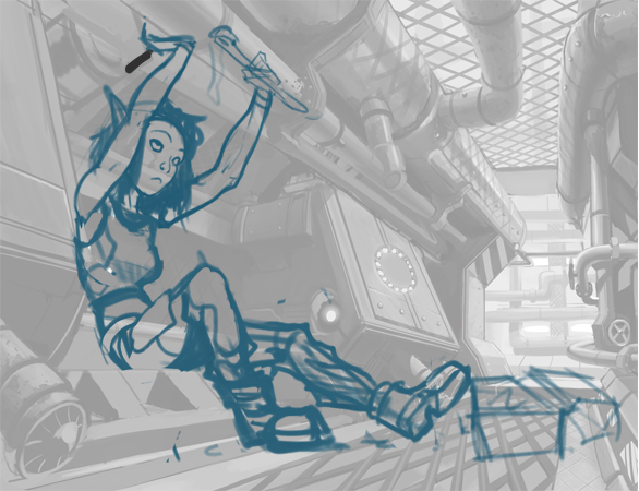 Repair girl sketch overlay
