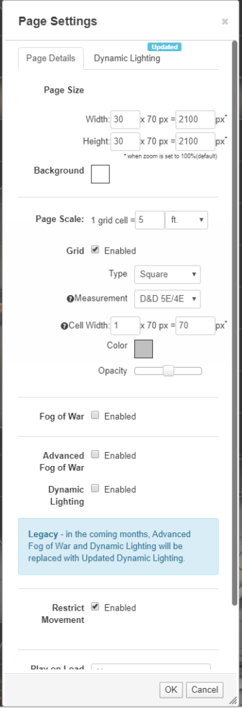 Lantern Lights Map Page Settings Page Details